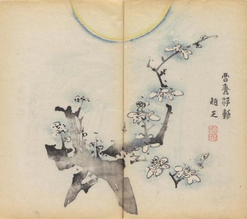 две скрещённые ветви под луной